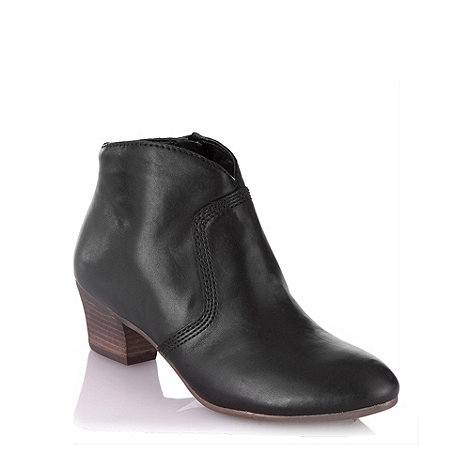Clarks - Black mid heel leather ankle boots
