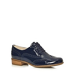 Clarks - Navy 'Hamble Oak' patent leather brogues