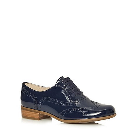 Clarks - Navy +Hamble Oak+ patent leather brogues