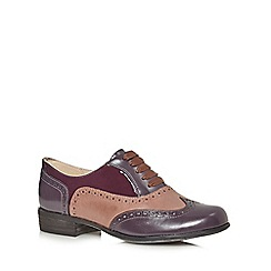 Clarks - Purple 'Hamble Oak' leather and patent brogues