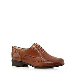 Clarks - Dark tan leather 'Hamble Oak' mid block heel brogues