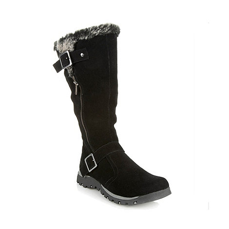 Skechers - Black faux fur trimmed buckled boots