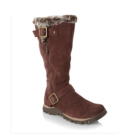 Skechers - Chocolate suede faux fur mid calf boots