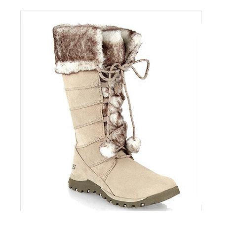 Skechers - Beige suede faux fur mid calf boots