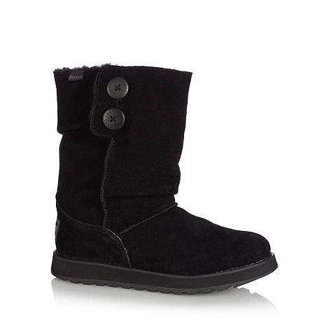 Skechers - Black suede faux fur mid calf boots