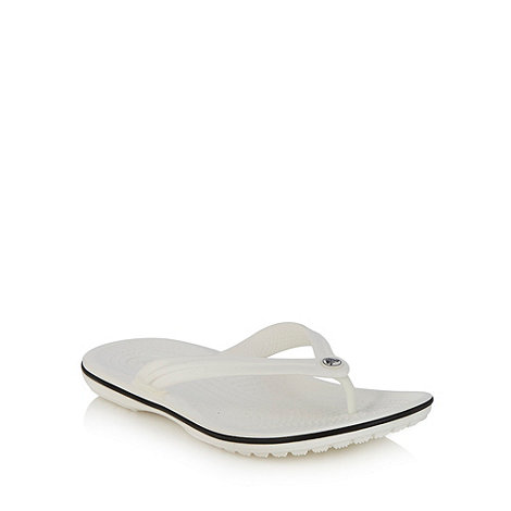Crocs - White toe post strap flip flops
