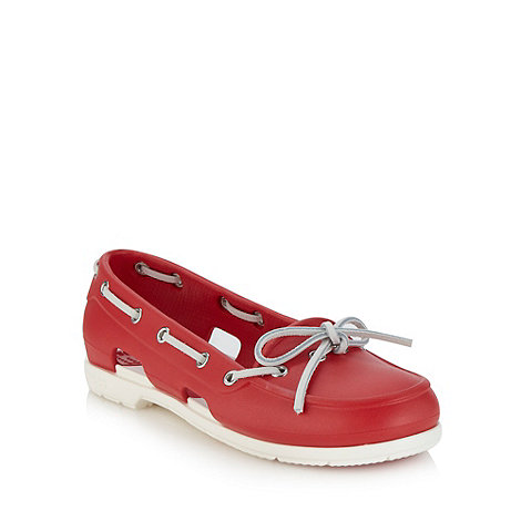Crocs - Red flat beach boat shoes