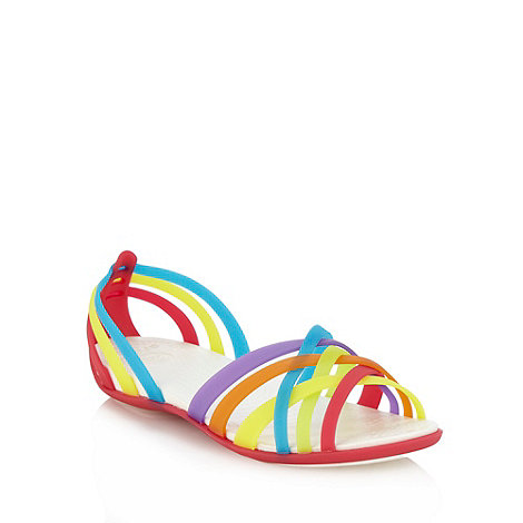 Crocs - Bright pink flat woven strapped sandals