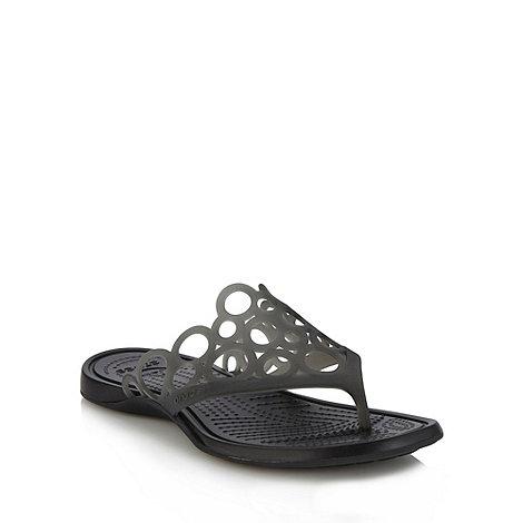 Crocs - Black cutout strap flip flops