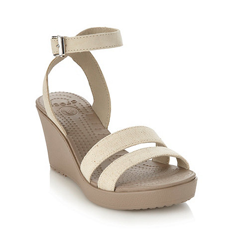 Crocs - Beige high wedge heeled sandals