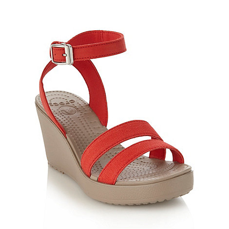 Crocs - Red high wedge heeled sandals