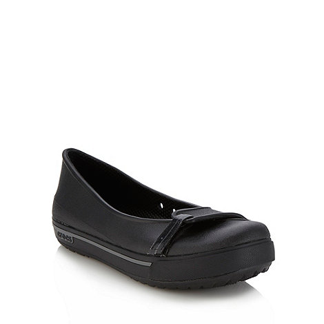Crocs - Black flat rip tape strapped pumps