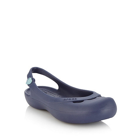Crocs - Navy flat rose detail slingback pumps