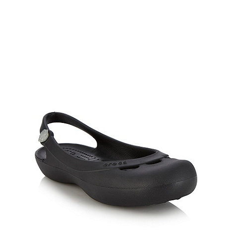Crocs - Black flat rose detail slingback pumps