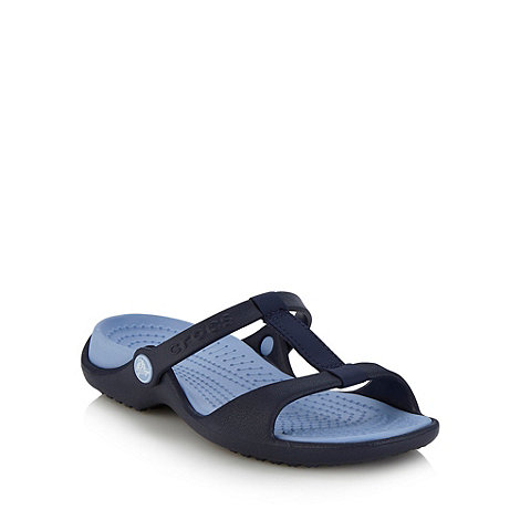 Crocs - Navy flat two tone sandals