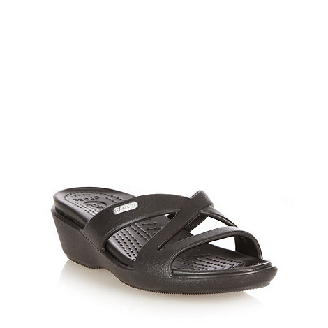 Crocs - Black mid height wedge heeled sandals