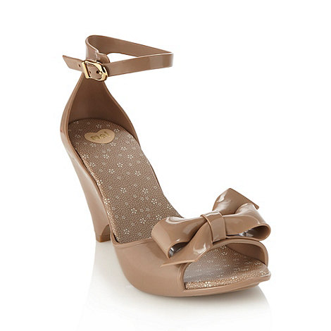Mel - Natural bow peep toe high wedges