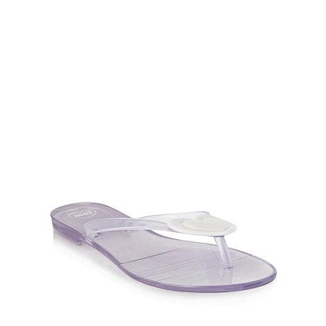 Mel - White heart flip flops