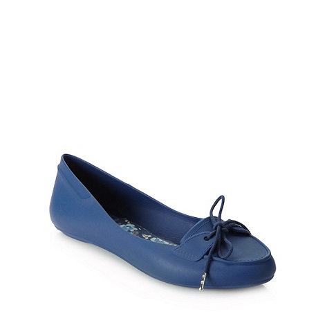 Mel - Navy lace boat shoes
