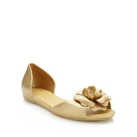 Mel - Gold flat jelly flower sandals