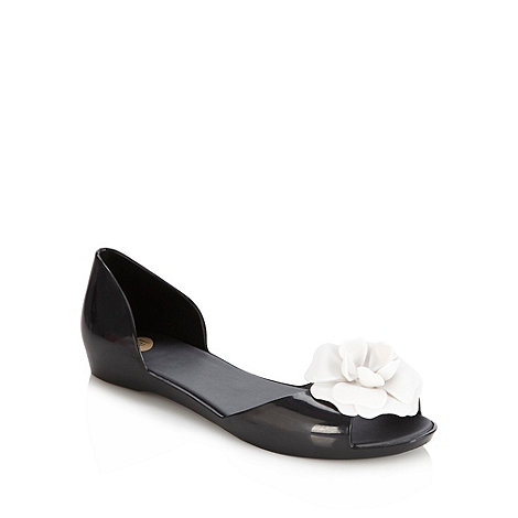 Mel - Black flat jelly flower sandals