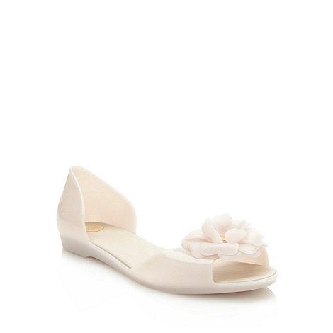 Mel - Cream flat jelly flower sandals