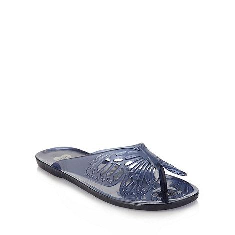 Mel - Navy butterfly flip flops