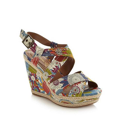 Hush Puppies - Cream floral wedge heeled sandals