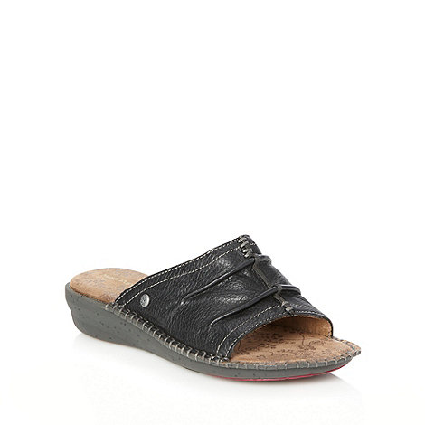 Hush Puppies - Black leather mid wedge heeled sandals