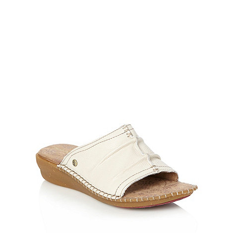 Hush Puppies - Off white leather mid wedge heeled sandals