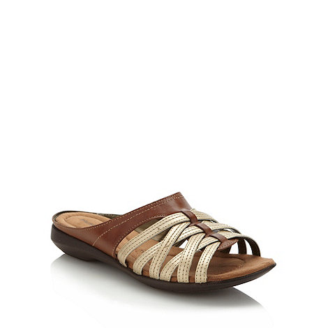 Hush Puppies - Tan cross over strap sandals