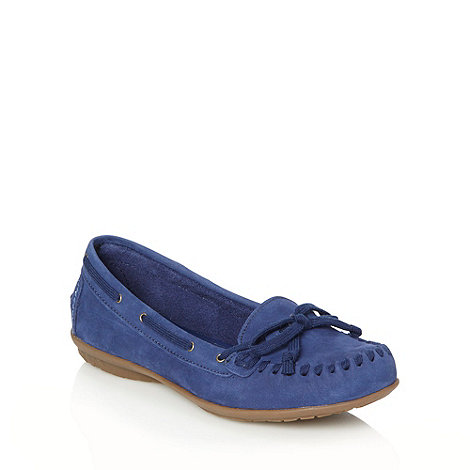 Hush Puppies - Dark blue stitched lace moccasins
