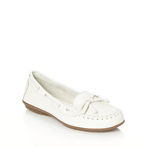 Hush Puppies - White stitched lace moccasins