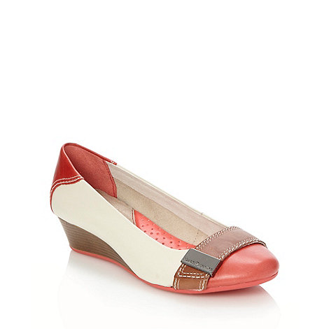 Hush Puppies - Off white colour block low wedge heeled shoes