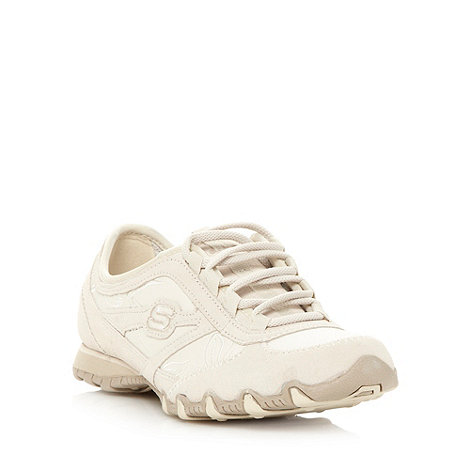 Skechers - Ivory +Bikers+ embroidered trainers
