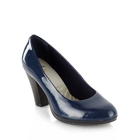 Clarks - Navy contrasting high heeled court shoes