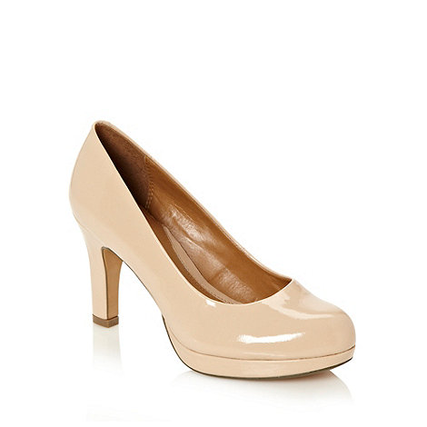 Clarks - Natural high heeled patent leather court shoes