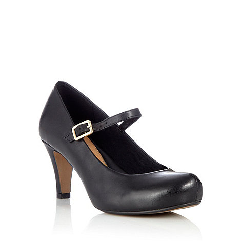 Clarks - Black leather mid height heeled mary janes