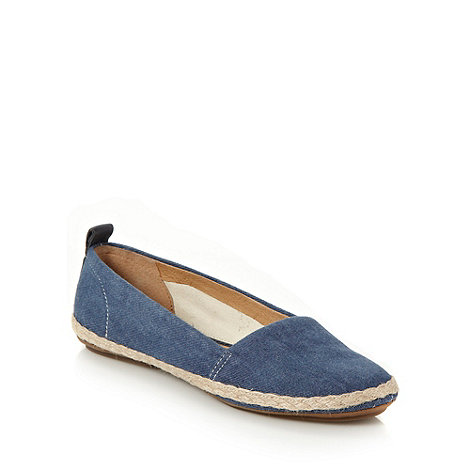 Clarks - Blue denim plaited trimmed pumps