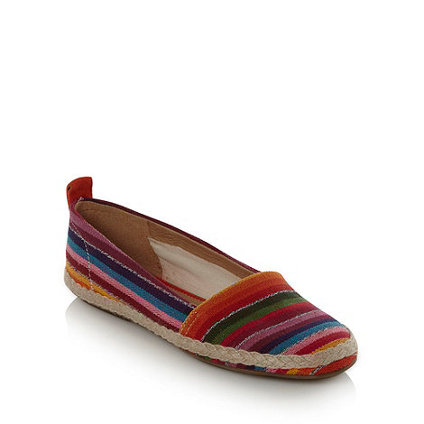 Clarks - Purple striped canvas pumps