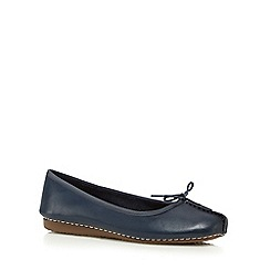 Clarks - Navy 'Freckle Ice' leather bow applique shoes