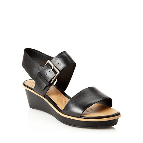 Clarks - Black mid wedge heeled sandals