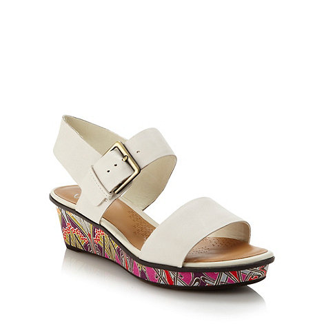 Clarks - White floral mid wedge heeled sandals