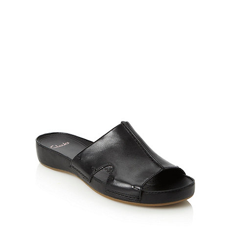Clarks - Black leather low slip on shoes
