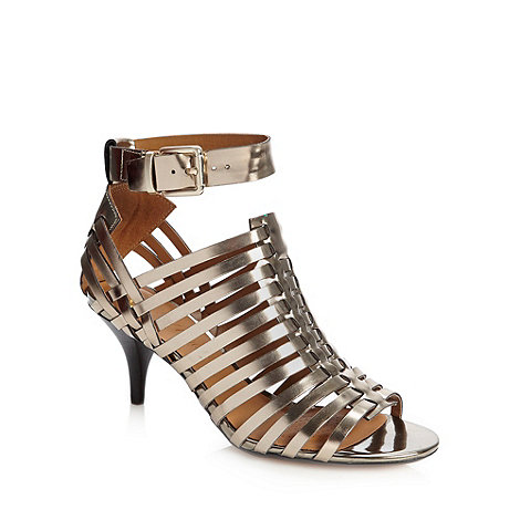 Clarks - Metallic woven strapped mid heeled sandals