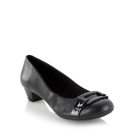 Clarks - Black glossy belted court shoes