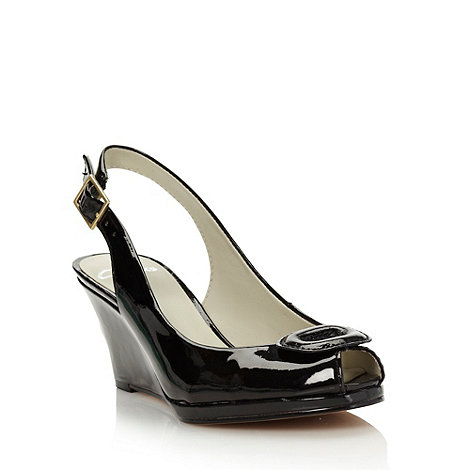 Clarks - Black mid wedge heeled peep toed slingback shoes with buckle detail