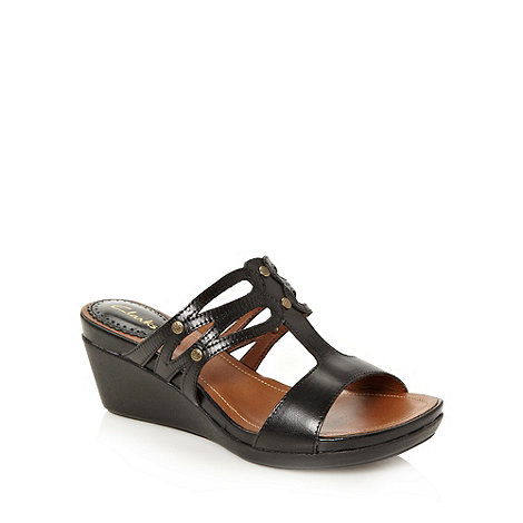 Clarks - Black mid heeled studded  leather sandals