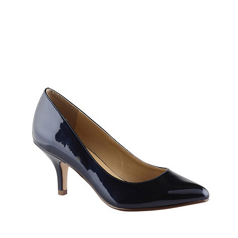 Call It Spring - Navy metallic mid height heeled court shoes with pointed toes