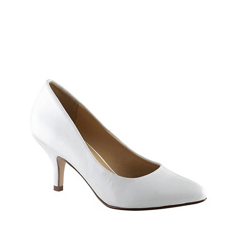 Call It Spring - White +roessing+ patent mid heel court shoes